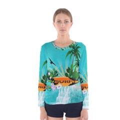 Surfboard With Palm And Flowers Women s Long Sleeve T Shirts
