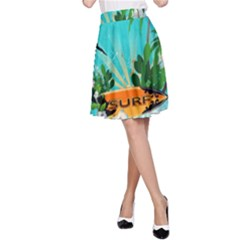 Surfboard With Palm And Flowers A-Line Skirts