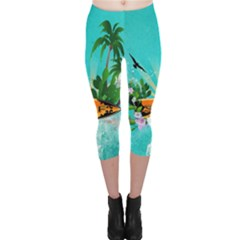 Surfboard With Palm And Flowers Capri Leggings