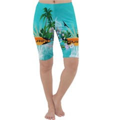 Surfboard With Palm And Flowers Cropped Leggings