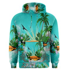 Surfboard With Palm And Flowers Men s Pullover Hoodies