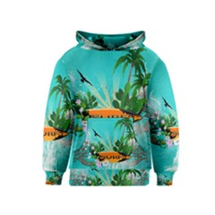 Surfboard With Palm And Flowers Kid s Pullover Hoodies