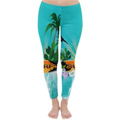Surfboard With Palm And Flowers Winter Leggings