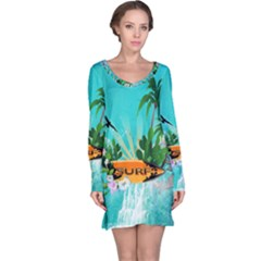 Surfboard With Palm And Flowers Long Sleeve Nightdresses