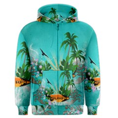 Surfboard With Palm And Flowers Men s Zipper Hoodies