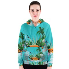 Surfboard With Palm And Flowers Women s Zipper Hoodies
