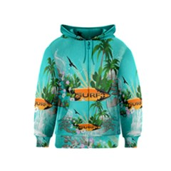 Surfboard With Palm And Flowers Kids Zipper Hoodies