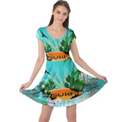 Surfboard With Palm And Flowers Cap Sleeve Dresses