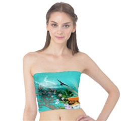 Surfboard With Palm And Flowers Women s Tube Tops