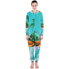 Surfboard With Palm And Flowers Hooded Jumpsuit (ladies)