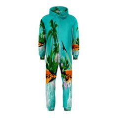Surfboard With Palm And Flowers Hooded Jumpsuit (Kids)