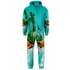 Surfboard With Palm And Flowers Hooded Jumpsuit (Men)