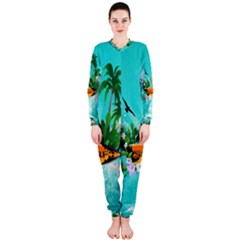 Surfboard With Palm And Flowers Onepiece Jumpsuit (ladies)