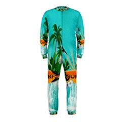 Surfboard With Palm And Flowers Onepiece Jumpsuit (kids)