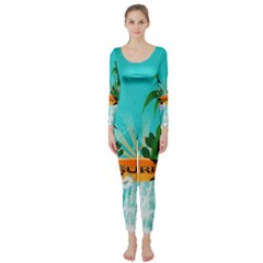 Surfboard With Palm And Flowers Long Sleeve Catsuit