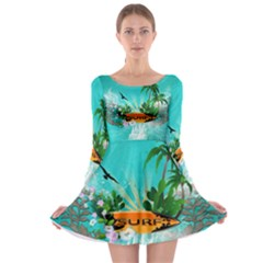 Surfboard With Palm And Flowers Long Sleeve Skater Dress