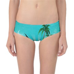 Surfboard With Palm And Flowers Classic Bikini Bottoms