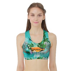 Surfboard With Palm And Flowers Women s Sports Bra with Border