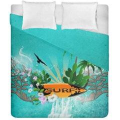 Surfboard With Palm And Flowers Duvet Cover (double Size)
