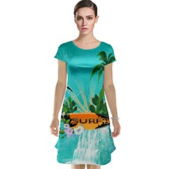 Surfboard With Palm And Flowers Cap Sleeve Nightdresses