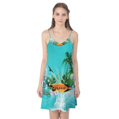 Surfboard With Palm And Flowers Camis Nightgown