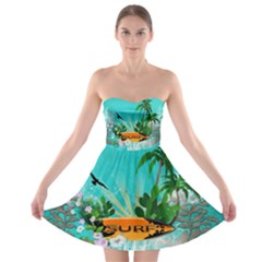 Surfboard With Palm And Flowers Strapless Bra Top Dress
