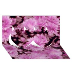 Phenomenal Blossoms Pink Twin Hearts 3D Greeting Card (8x4)