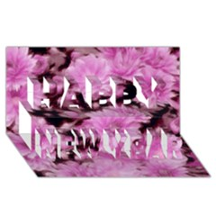 Phenomenal Blossoms Pink Happy New Year 3d Greeting Card (8x4)