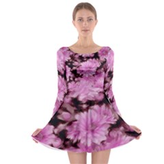Phenomenal Blossoms Pink Long Sleeve Skater Dress
