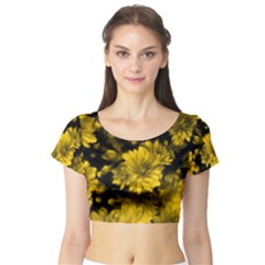 Phenomenal Blossoms Yellow Short Sleeve Crop Top