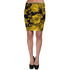 Phenomenal Blossoms Yellow Bodycon Skirts