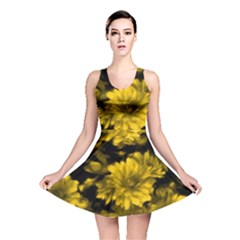 Phenomenal Blossoms Yellow Reversible Skater Dresses