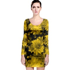 Phenomenal Blossoms Yellow Long Sleeve Bodycon Dresses