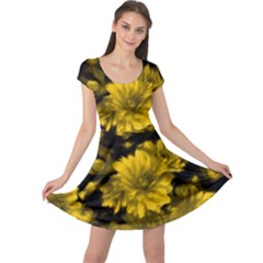 Phenomenal Blossoms Yellow Cap Sleeve Dresses