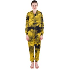 Phenomenal Blossoms Yellow Hooded Jumpsuit (ladies)