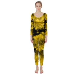 Phenomenal Blossoms Yellow Long Sleeve Catsuit