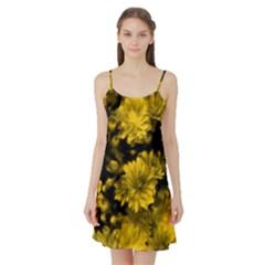 Phenomenal Blossoms Yellow Satin Night Slip