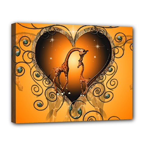 Funny Cute Giraffe With Your Child In A Heart Canvas 14  x 11