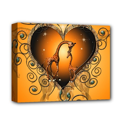 Funny Cute Giraffe With Your Child In A Heart Deluxe Canvas 14  x 11