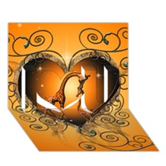 Funny Cute Giraffe With Your Child In A Heart I Love You 3d Greeting Card (7x5)
