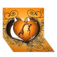 Funny Cute Giraffe With Your Child In A Heart Heart 3d Greeting Card (7x5)