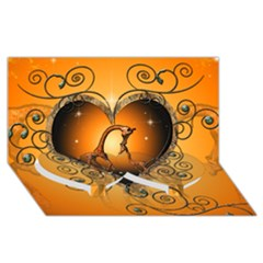 Funny Cute Giraffe With Your Child In A Heart Twin Heart Bottom 3D Greeting Card (8x4)
