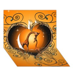 Funny Cute Giraffe With Your Child In A Heart Apple 3D Greeting Card (7x5)