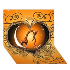 Funny Cute Giraffe With Your Child In A Heart Circle 3D Greeting Card (7x5)