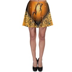 Funny Cute Giraffe With Your Child In A Heart Skater Skirts