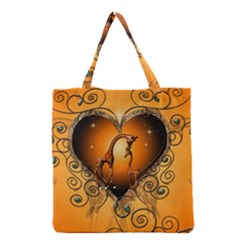 Funny Cute Giraffe With Your Child In A Heart Grocery Tote Bags