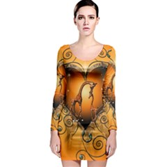 Funny Cute Giraffe With Your Child In A Heart Long Sleeve Bodycon Dresses