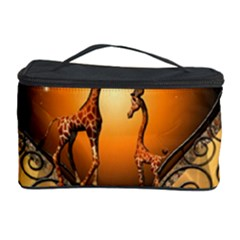 Funny Cute Giraffe With Your Child In A Heart Cosmetic Storage Cases