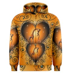 Funny Cute Giraffe With Your Child In A Heart Men s Zipper Hoodies