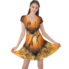 Funny Cute Giraffe With Your Child In A Heart Cap Sleeve Dresses
